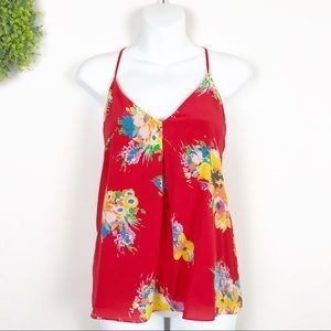 Polo RL || Red Silk Floral Camisole Top S